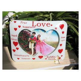 立體LOVE心形水晶玻璃相框7寸 歐式橫豎放像架相結婚影樓