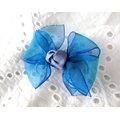 ~liliantang~ SweetBaby雙色螢光紗蝴蝶結髮夾 髮飾 髮束 髮箍^(藍色