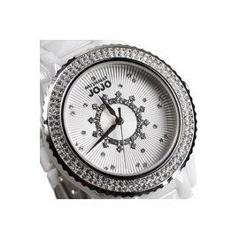 JO96785~80F NATURALLY JOJO 白陶瓷錶 晶鑽錶框 立體切割白陶瓷