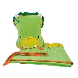 【紫貝殼】『GE21』英國Trunki Snoozihedz 三合一攜帶型旅行被枕組/旅行被枕/車內毯/隨行毯/車用枕/攜帶毯【恐龍】