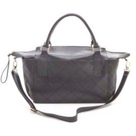 再生工場 Rachael Ruddick 黑色牛皮菱格紋手提肩背兩用包 媽媽包 旅行包 0