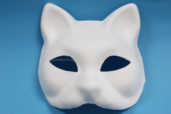 猫头面具 空白面具 彩绘面具 diy面具 纸浆面具 纸面具(附松紧带)/一