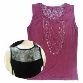 ~一品川流~女用內搭衣~背蕾絲~紫色~6881 ^(FREE^)