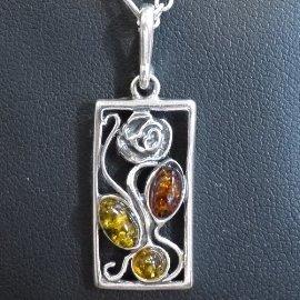 ~La luna 銀飾豐華~古典鏤空玫瑰三色波羅的海天然琥珀純銀墜子 P3451