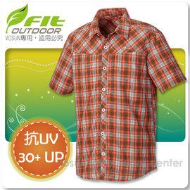 【FIT】男新款 格紋吸排抗UV短袖襯衫/立領.透氣.吸濕.輕量.涼爽/ FS1202 鮭魚橙