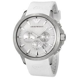 ~EMPORIO ARMANI~ 白色樹酯錶帶石英男表^(AR5850^)