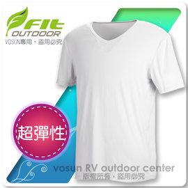 【FIT】男新款 Coolmax V領內衣/短袖上衣.衛生衣.超彈性.涼爽.吸濕.快乾.透氣.除臭/ 1502 夢幻白