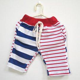 小跟班^~紅白藍條紋棉質短褲
