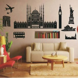 環遊世界 著名景點總集2 第三代可移除牆貼~可重覆撕貼! 大型客廳電視牆沙發背景/壁貼/壁紙牆紙