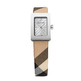 ~BURBERRY ~英國倫敦 ~ BURBERRY手錶皮帶格紋 方形銀色石英女表BU11