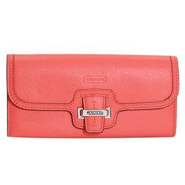 COACH 50612 粉橘色全皮壓字金屬飾牌雙摺長夾