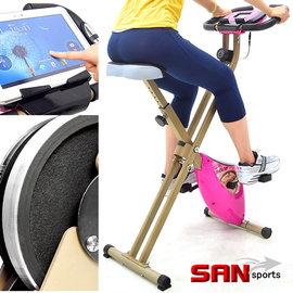 【SAN SPORTS 山司伯特】雙軸飛輪式磁控健身車C082-917(室內折疊腳踏車.摺疊美腿機.運動健身器材.推薦哪裡買)