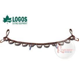 探險家戶外用品㊣NO.72685102 日本品牌LOGOS 條紋織帶117cm+4個D型環 (置物繩 曬衣繩 掛物繩