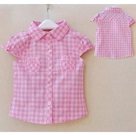 貨號~B5~50372~原單女童粉嫩格紋襯衫 18~36m