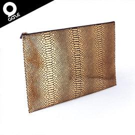 【韓國潮牌Gaze Clutch Gold Python金色蟒紋手工