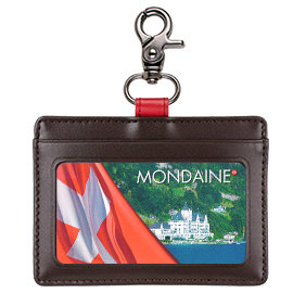 絕版品MONDAINE 瑞士國鐵牛皮扣環證件夾~咖啡