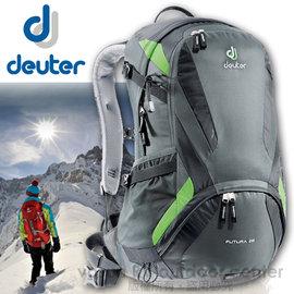 【德國 Deuter】Futura 28 輕量 網架式透氣背包.單車背包.登山背包.露營背包.雙肩背包.旅行包_ 34214  黑/綠