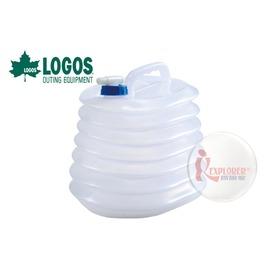 探險家戶外用品㊣NO.81448001 日本品牌LOGOS 抗菌伸縮折疊水桶8L 折疊水箱軟式水袋戶外  露營