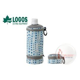 探險家戶外用品㊣NO.81670291 日本品牌LOGOS 伸縮水壺保冷袋 500ml(藍色) 水壺套 寶特瓶保冰袋