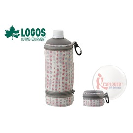 探險家戶外用品㊣NO.81670292 日本品牌LOGOS 伸縮水壺保冷袋 500ml(粉紅) 水壺套 寶特瓶保冰袋