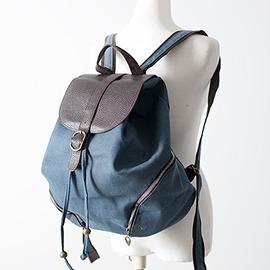 韓妞Han~niu  休閒獨特雙向側邊拉鍊夾層內拉鍊袋小口袋磁釦皮帶扣束口帆布後背包