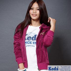 【美國Keds】華麗天鵝絨純色連帽外套-女(深戀紫)