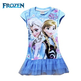 冰雪奇緣FROZEN艾莎與安娜公主藍底上衣藍紗裙下擺長版短袖T恤^(95、100CM ^)