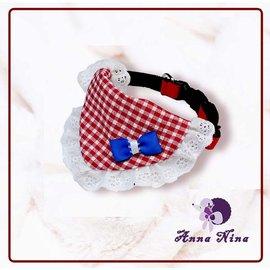 ~AnnaNina~項圈 紅色小方格藍色啾啾蕾絲領巾~S號 M號 L號