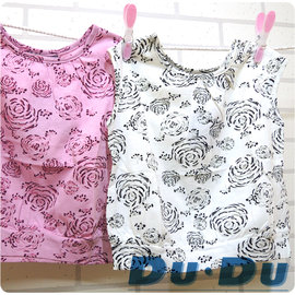 ~1號店 ~Du Du嘟嘟 ~ 專櫃 ~春夏女童無袖圓領上衣~純棉彈性布料~白色 淺粉色~