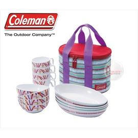 探險家戶外用品㊣CM-5668美國Coleman 彩色四人份餐盤組 餐具組 附收納袋 盤子碗杯子碗盤組