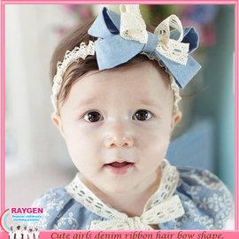 帽子 嬰兒 牛仔 蕾絲 蝴蝶結 髮帶 髮飾 頭花 帽子【HH婦幼館】