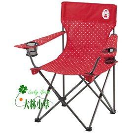 大林小草~【CM-6998 】美國Coleman 圓點紅度假休閒摺疊椅 休閒椅 野餐桌椅