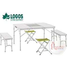探險家戶外用品㊣NO.73183002 日本品牌LOGOS 2凳2椅折合BBQ桌椅組 一桌四椅 摺疊桌椅 烤肉爐桌