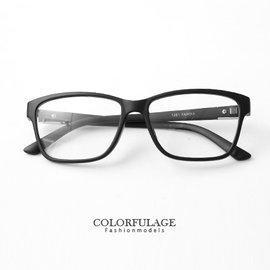 鏡框 簡單俐落 全素框側邊 鐵片鏡架眼鏡 方框 膠框 簡約學院風 柒彩年代~NY237~單