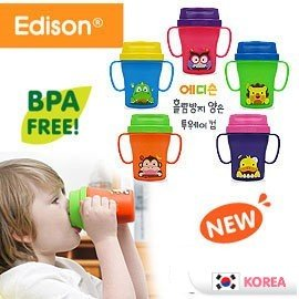 兒童學習水杯~Baby Joy World~~韓國 Edison~可愛動物Two Way防