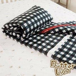 【奶油狮】格纹系列-台湾制造-100%精梳纯棉双面薄被套(黑)-双人特大