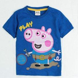 ╭~~以琳衣坊~~╮歐洲品牌Peppa Pig佩佩豬^(粉紅豬小妹^)藍色喬治修理玩具T恤