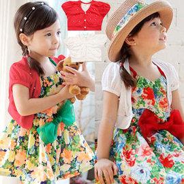 ~貝貝樂SHOW~ 韓國小公主洋裝 品^~優雅氣質短袖珍珠蕾絲披肩外套^~80~130CM