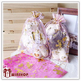 【Q禮品】A2061 迪士尼燙金紗袋-18x12cm/正版授權迪士尼/束口袋/DIY婚禮小物包裝首飾袋糖果袋禮品袋