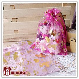 【Q禮品】A2062 迪士尼燙金紗袋-14x10cm/正版授權迪士尼/束口袋/DIY婚禮小物包裝首飾袋糖果袋禮品袋
