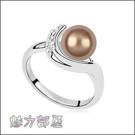^~ ^~ 魅力部屋 ^~ ^~ 奧地利珍珠戒指 ~ 守著夢^(古銅^)201405050