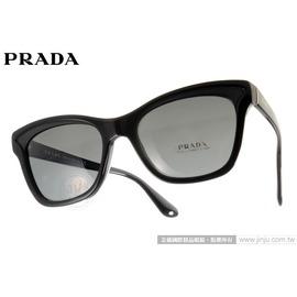 PRADA 太陽眼鏡 SPR16PA 1AB1A1 (黑) 義式時尚經典貓眼 墨鏡 # 金橘眼鏡