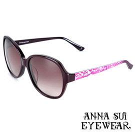 Anna Sui安娜蘇 Dolly Girl系列復古印花圖騰款 太陽眼鏡•黑 紫~DG80