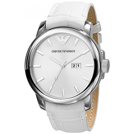 ~EMPORIO ARMANI~白色簡約日曆男用手錶^(AR0495^)