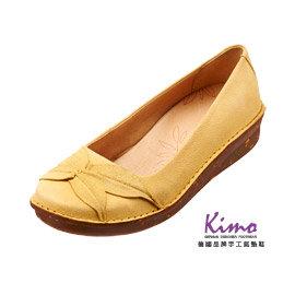 Kimo德國品牌 氣墊鞋.四葉草娃娃款休閒鞋_別緻黃_K14SF049145.真皮.厚底鞋