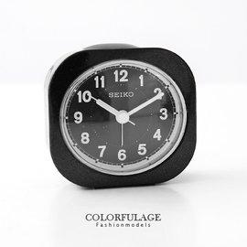 品牌SEIKO精工鬧鐘 微亮彩磨砂感全黑輕巧夜光指針型小鬧鐘 柒彩年代~NE1194~ 貨