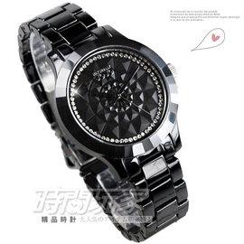 JO96841~88F NATURALLY JOJO 黑陶瓷錶 晶鑽點綴立體錶盤 36mm