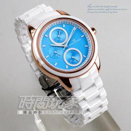 MAS7003S~11義大利 Max Max 馬卡龍三眼多 陶瓷錶 玫瑰金白色粉藍女錶