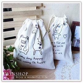 【winshop】A2087 鄉村動物棉麻束口袋-大/日系田園風萬用袋/抽繩收納袋/萬用包/手提包/絨布袋/相機包