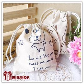 【Q禮品】A2088 鄉村動物棉麻束口袋-小/日系田園風萬用袋/抽繩收納袋/萬用包/手提包/絨布袋